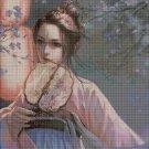 Girl with fan 2 cross stitch pattern in pdf DMC