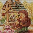 Hedgehog family cross stitch pattern in pdf DMC