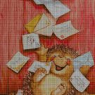 Hedgehog with letters cross stitch pattern in pdf DMC