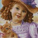 Little girl in purple cross stitch pattern in pdf DMC
