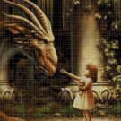 Little girl with dragon cross stitch pattern in pdf DMC