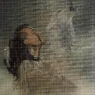 Native Indian and wolf cross stitch pattern in pdf DMC