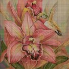 Orchids and humminbird 2 silhouette cross stitch pattern in pdf