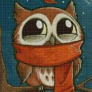 Owl in cold cross stitch pattern in pdf