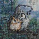 Owls on branch cross stitch pattern in pdf