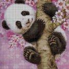Panda in pink cross stitch pattern in pdf DMC