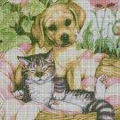 Pets in garden 2 cross stitch pattern in pdf