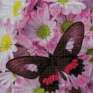 Pink flowers and butterfly cross stitch pattern in pdf