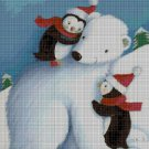 Polar bear with penguins cross stitch pattern in pdf