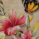 Red flowers and butterfly cross stitch pattern in pdf