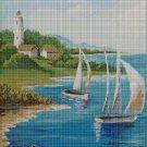 Sailboats cross stitch pattern in pdf