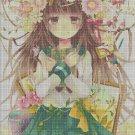 Schoolgirl with flower cross stitch pattern in pdf
