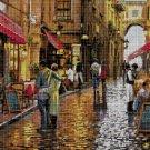 Street in rain cross stitch pattern in pdf DMC
