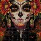 Sugar Skull face cross stitch pattern in pdf DMC