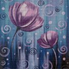 Tulips in rain cross stitch pattern in pdf DMC
