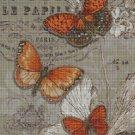 Vintage butterflies cross stitch pattern in pdf DMC