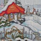 Winter cottage cross stitch pattern in pdf DMC