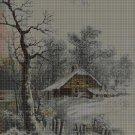Winter landscape cross stitch pattern in pdf DMC