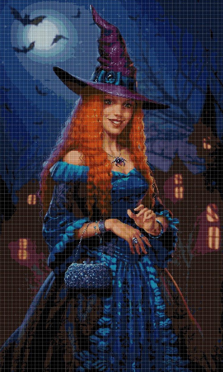 Witch cross stitch pattern in pdf DMC