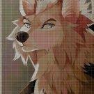 Wolf drawing cross stitch pattern in pdf DMC