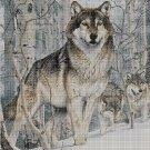 Wolf in the winter 2 cross stitch pattern in pdf DMC