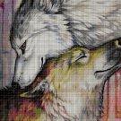 Wolves art cross stitch pattern in pdf DMC