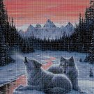 Wolves at twilight cross stitch pattern in pdf DMC