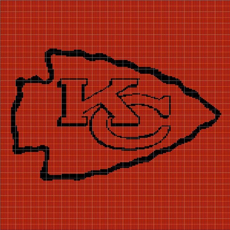 KANSAS CITY CHIEFS KC LOGO CROCHET AFGHAN PATTERN GRAPH