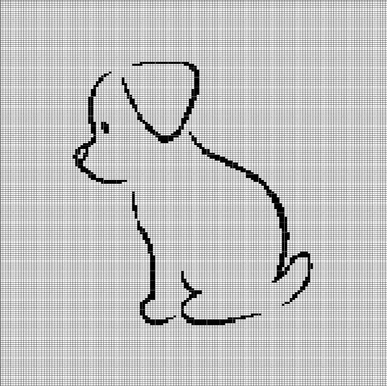 LITTLE DOG SILHOUETTE CROCHET AFGHAN PATTERN GRAPH