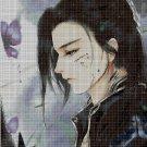 Anime boy with butterfly cross stitch pattern in pdf DMC