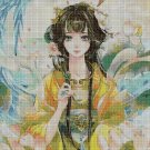 Anime girl with blue bird 2 cross stitch pattern in pdf DMC