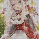 Anime girl with butterflies 2 cross stitch pattern in pdf DMC