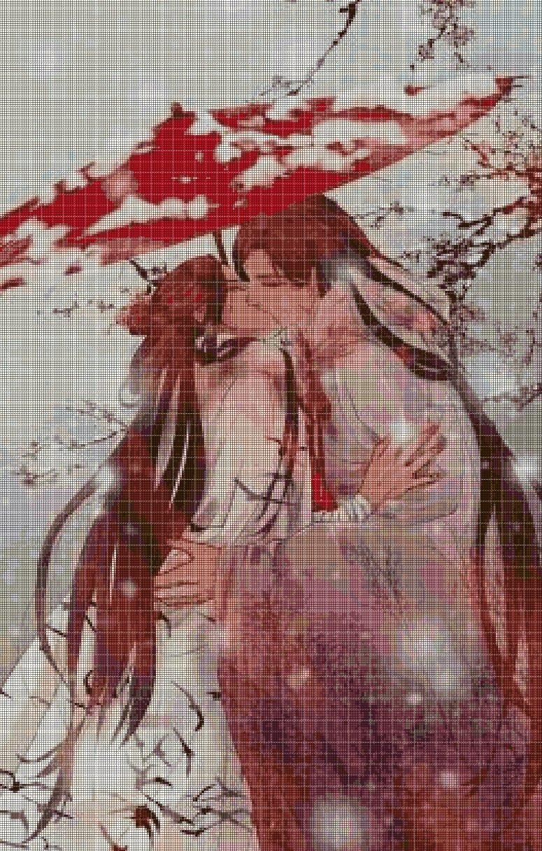 Anime kiss cross stitch pattern in pdf DMC