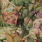 Flowers with bird cross stitch pattern in pdf DMC