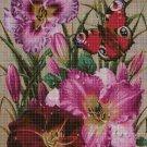 Flowers with butterfly cross stitch pattern in pdf DMC