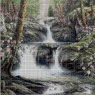 Forest waterfall cross stitch pattern in pdf DMC