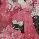 Anime girl in pink cross stitch pattern in pdf DMC