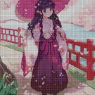 Anime girl in pink 2 cross stitch pattern in pdf DMC