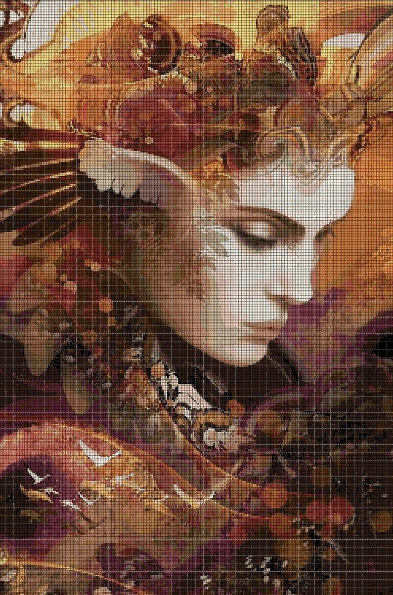 Autumn fairy cross stitch pattern in pdf DMC