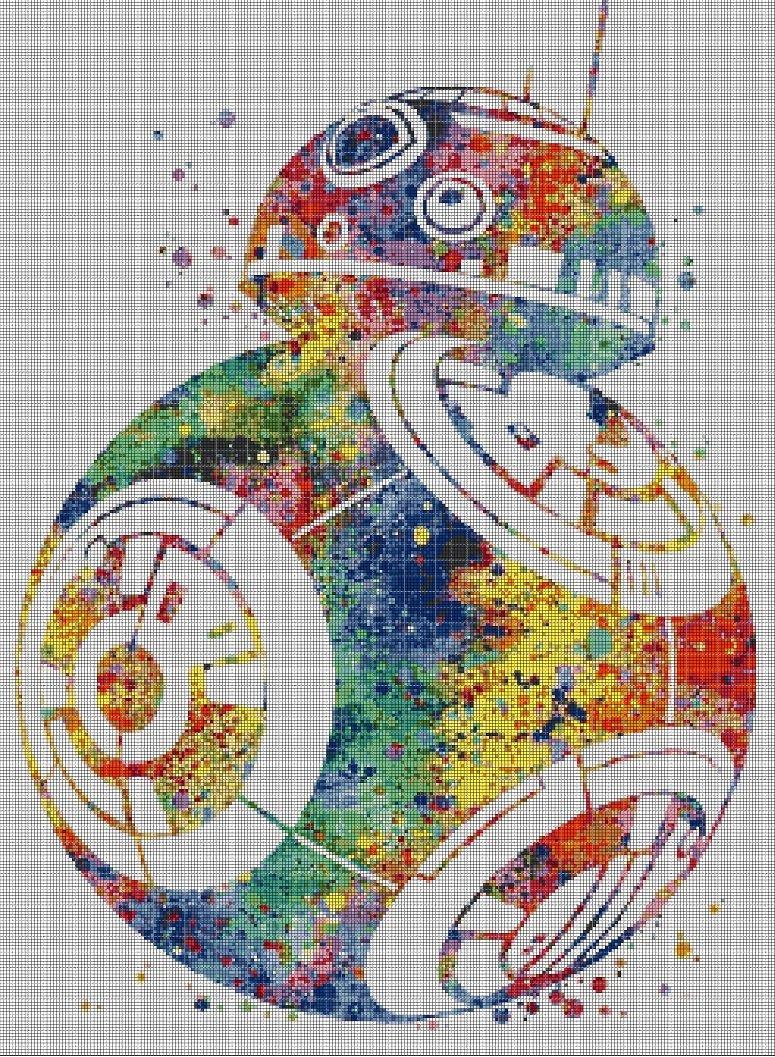 BB8 cross stitch pattern in pdf DMC