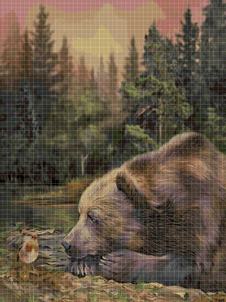 Bear and bird cross stitch pattern in pdf DMC