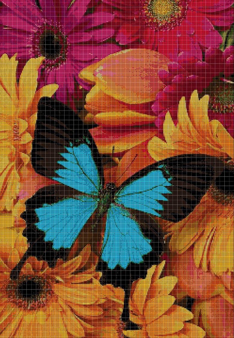 Blue Butterfly in flowers 2 cross stitch pattern in pdf DMC