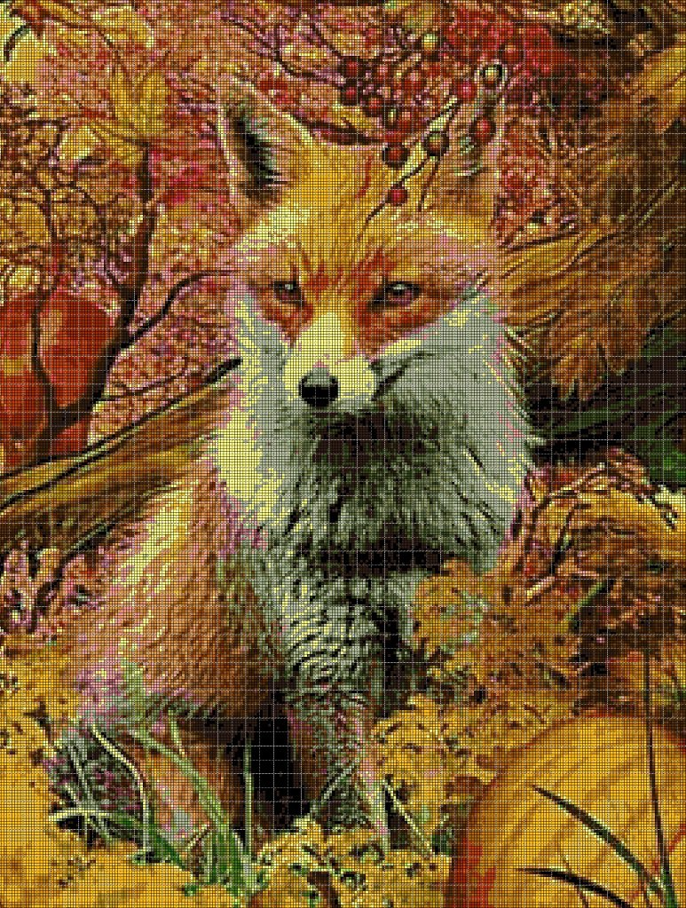 Fox in autumn cross stitch pattern in pdf DMC