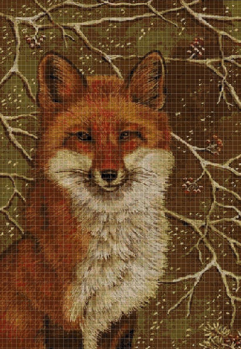 Fox in green cross stitch pattern in pdf DMC