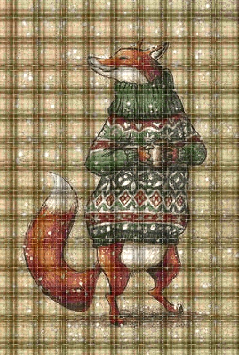 Fox in snow cross stitch pattern in pdf DMC