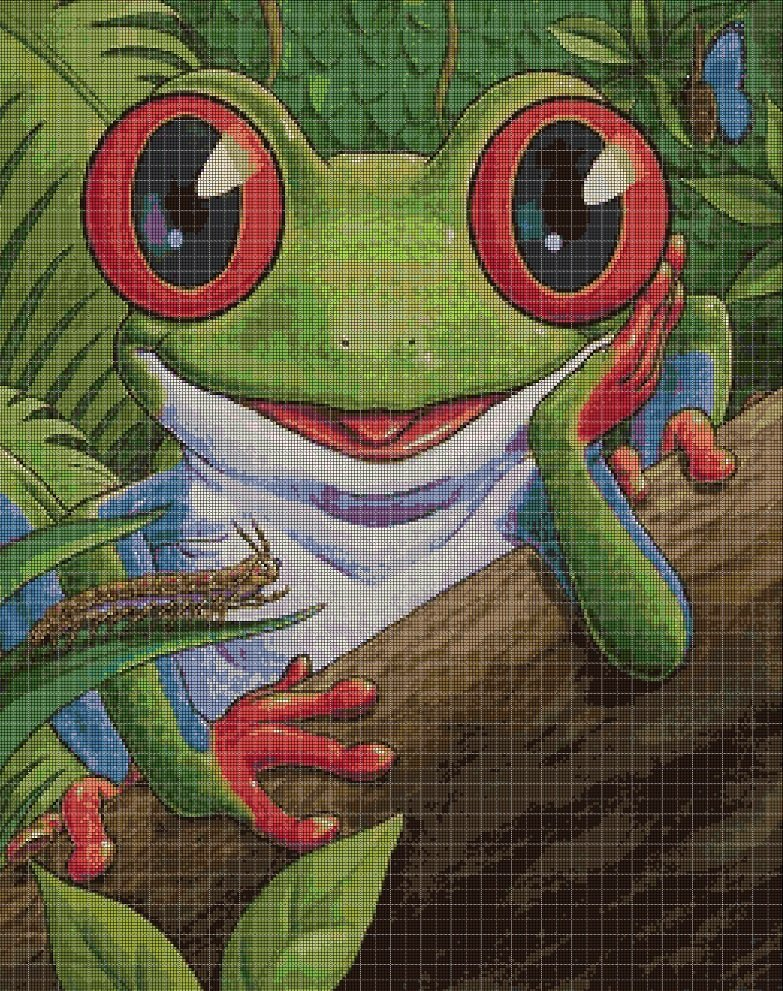 Frog cross stitch pattern in pdf DMC