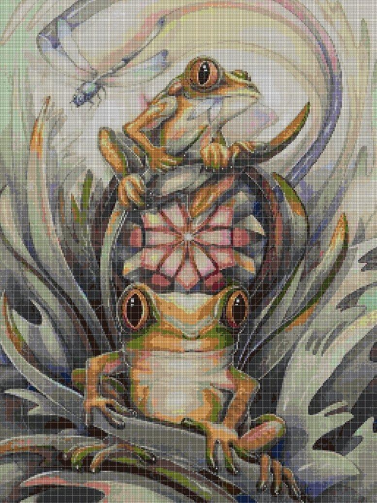 Frogs cross stitch pattern in pdf DMC