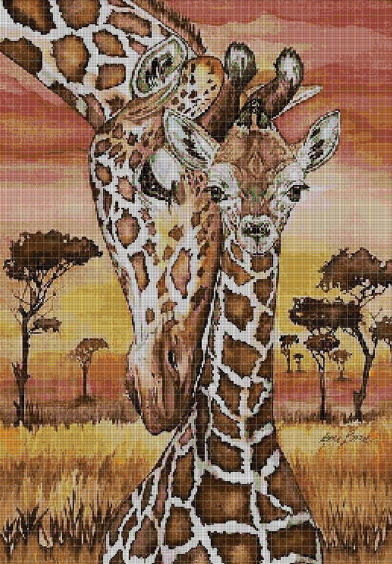 Giraffe mom and baby cross stitch pattern in pdf DMC