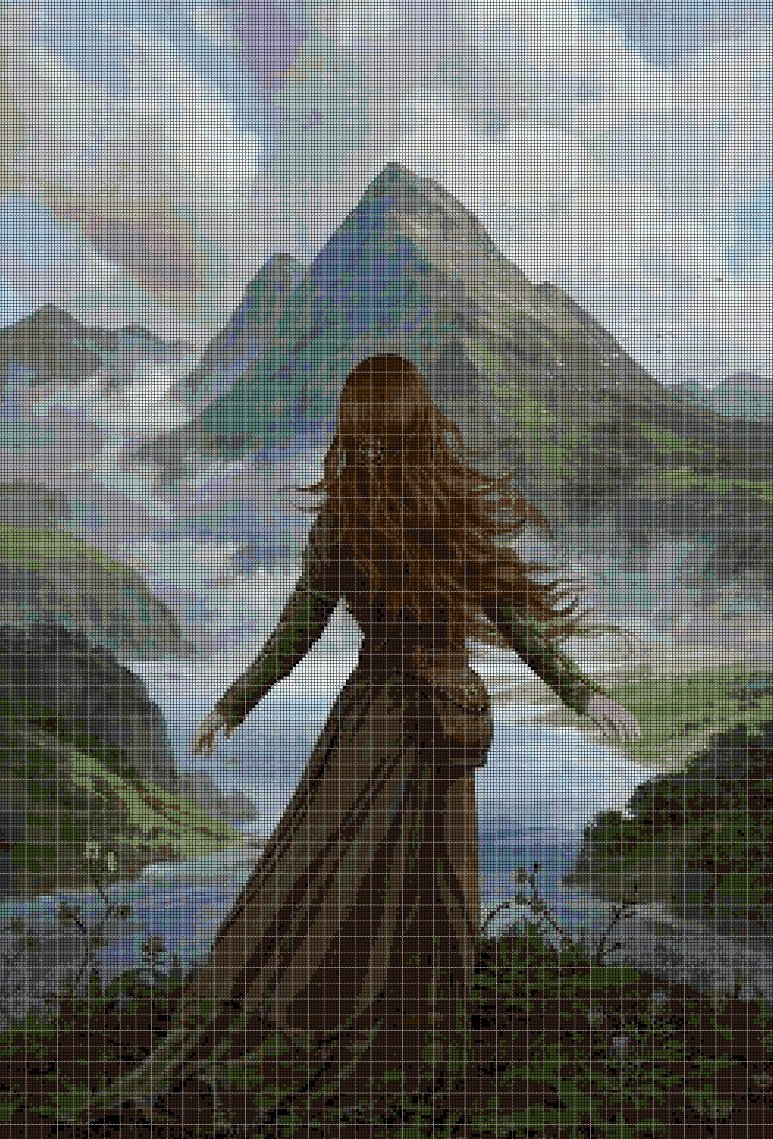 Girl in the mountains cross stitch pattern in pdf DMC
