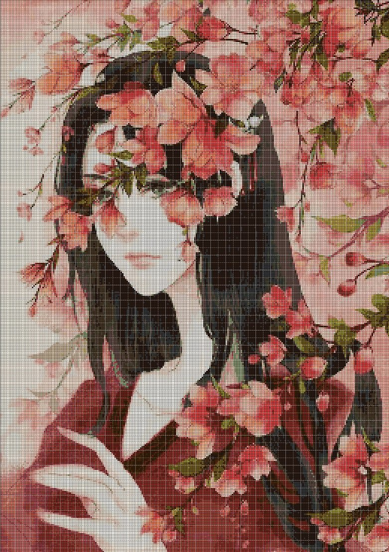 Girl with flowers 2 cross stitch pattern in pdf DMC